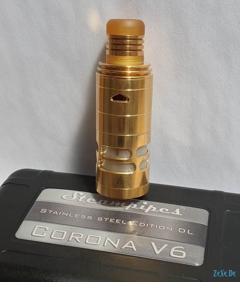 Steampipes Corona V6 RTA DL 24K Gold & Nebelfee Jigsaw DripTip
